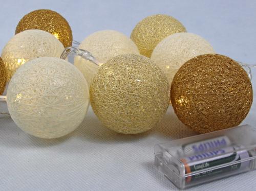 Lampki Ozdobne Kule Cotton Ball 6cm 10led Tv610032